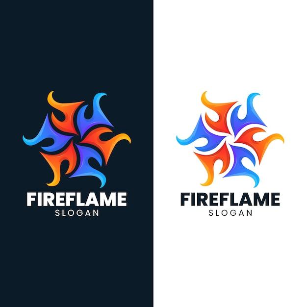 Fire ice flame abstract blaze hot logo Premium Vector