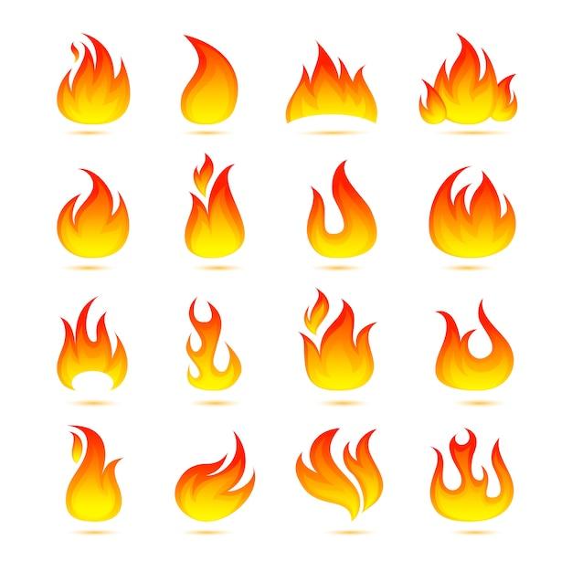 火のアイコンを設定 無料ベクター