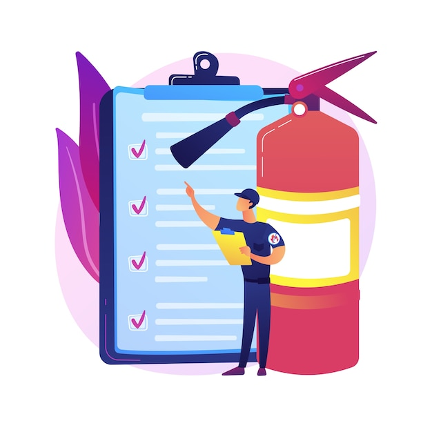 Fire inspection abstract concept   illustration. fire alarm and detection, building inspection checklist, fulfill the requirements, safety certification, annual inspection Free Vector