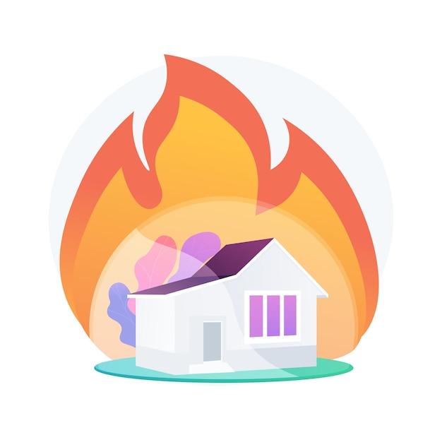 火災保険の抽象的な概念図。火災財産保険、事故による経済的損失、所持品の保護、標準的なポリシー、損害補償、州のサービス 無料ベクター