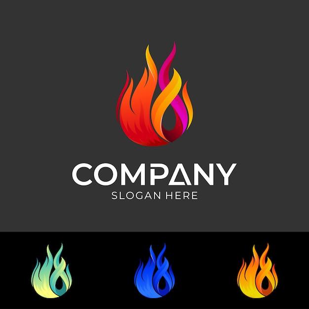 Fire logo design template Premium Vector