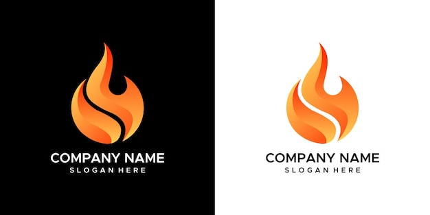 Fire logo design Premium Vector