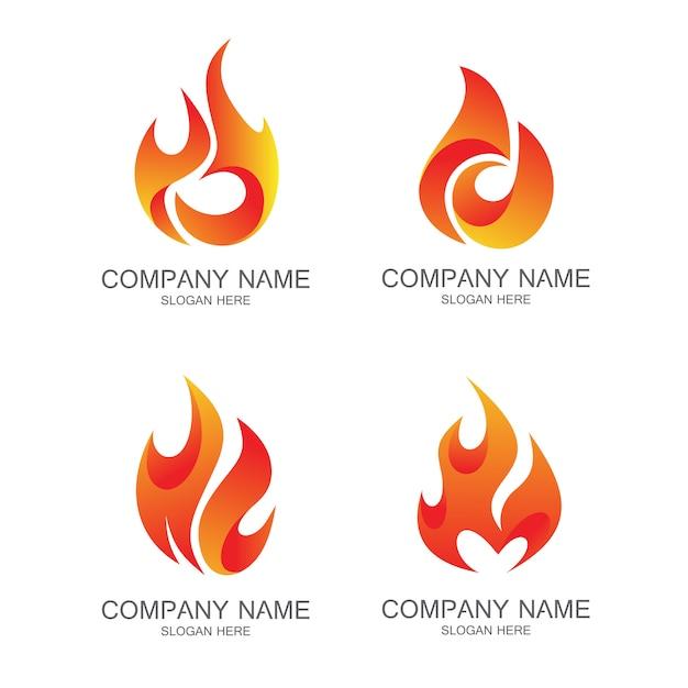 Fire logo vector set Premium Vector