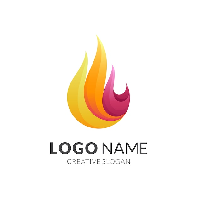 Fire logo with 3d colorful style Premium Vector