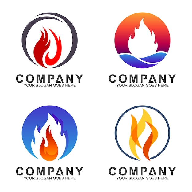 Fire logotype collection in circle shape Premium Vector