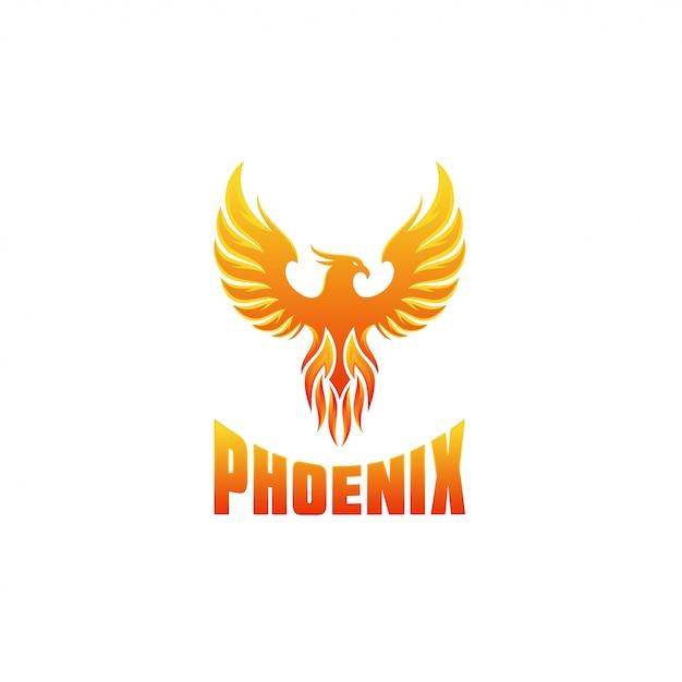 火のフェニックスのロゴデザインテンプレート Premiumベクター