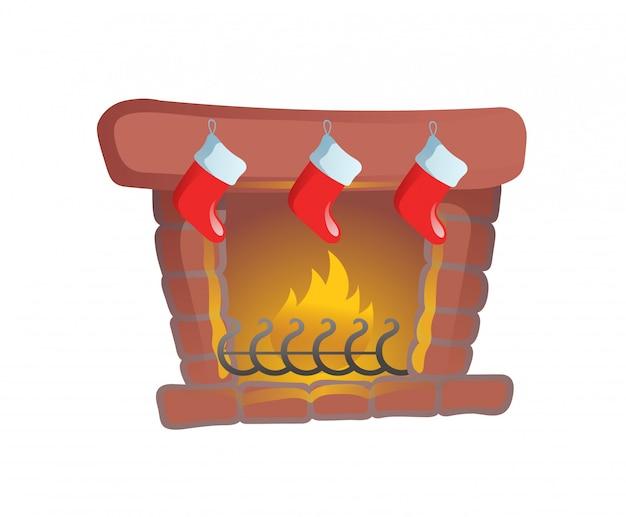 Кострище с рождественскими чулками. мультяшная рождественская открытка. иллюстрация. на белом фоне. Premium векторы