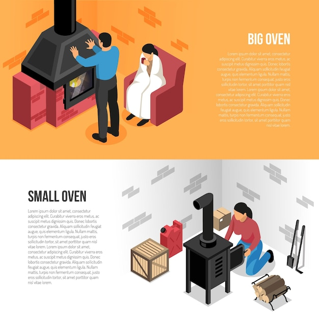 Fire places isometric horizontal banners big and small oven isolated on orange white Free Vector