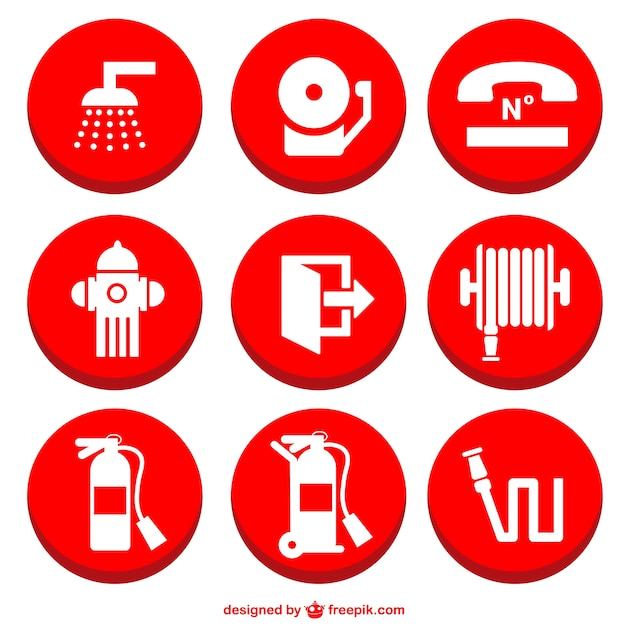 Fire prevention icons set Free Vector