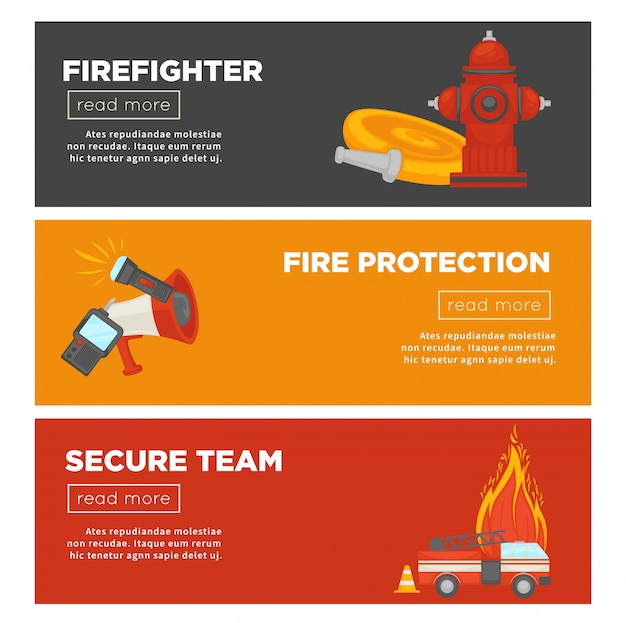 Fire protection and firefighter team of fire security web banner template set Premium Vector