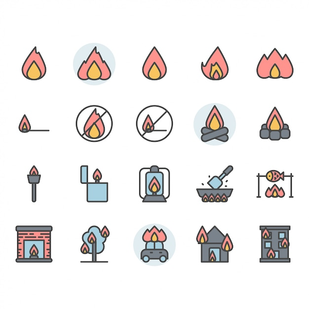 Fire related icon and symbol set Premium Vector