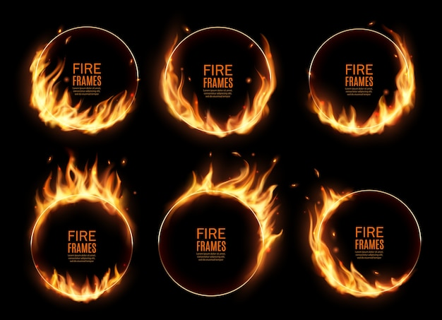 Fire rings, burning  round frames. realistic burn circles with flame tongues on edges. 3d flare circles for circus performance, burned hoops or holes in fire,  circular borders set Premium Vector