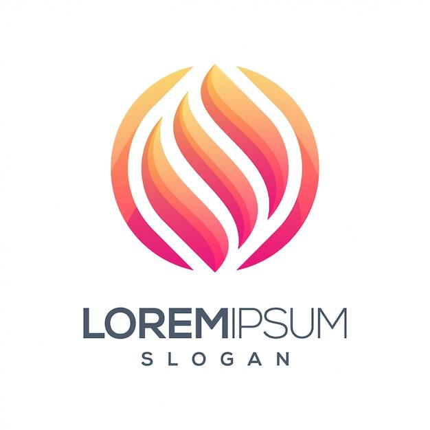 Fire round gradient color logo Premium Vector