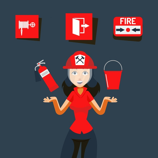 Fire safety sign  illustration. image for help during emergency, flame indoors. girl in helmet show fire extinguisher Premium Vector