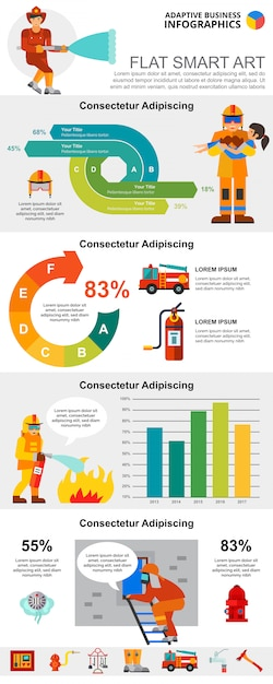 Fire service and statistics concept infographic charts set Free Vector
