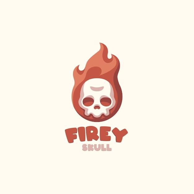 あなたの会社の火の頭蓋骨の漫画のロゴ Premiumベクター