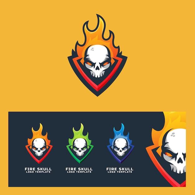 Fire skull logo template modern sport Premium Vector