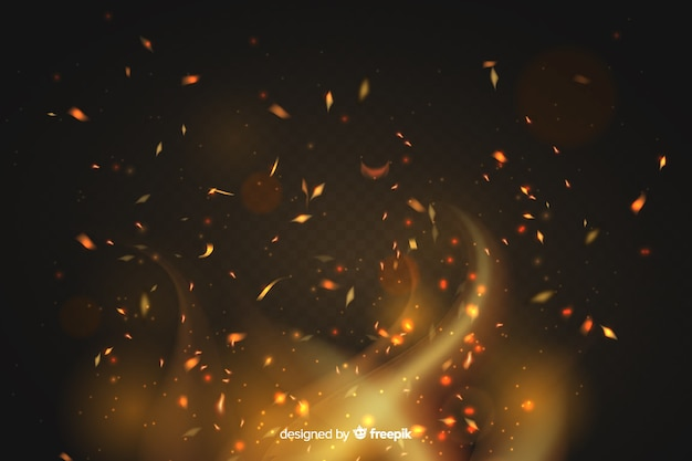 Fire sparks effect background style Free Vector