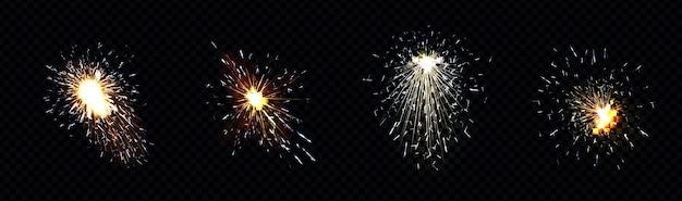 Искры огня от сварки металлов, резки железа или фейерверков. Бесплатные векторы