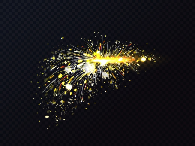 Fire sparks of metal welding or cutting flare sparkles. Free Vector