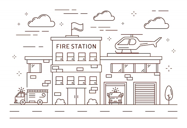 Fire station building. Premium Vector