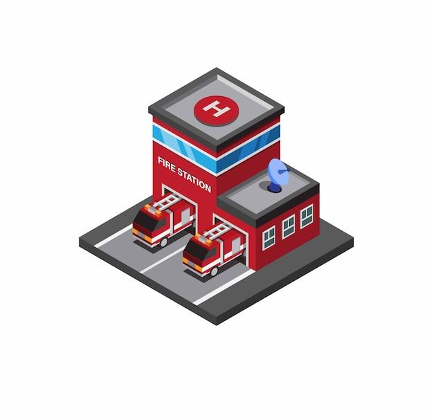 消防署、消防士救助白い背景等尺性イラスト編集可能な消防車と建物 Premiumベクター