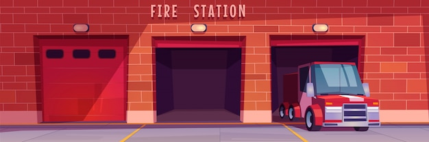 Fire station garage with red truck leaving box Free Vector