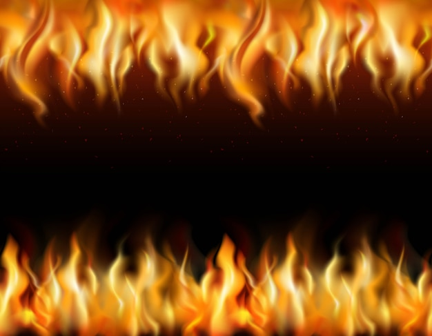 Fire tileable realistic borders set on black background Free Vector
