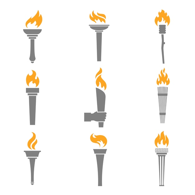 Огненный факел иконки Бесплатные векторы
