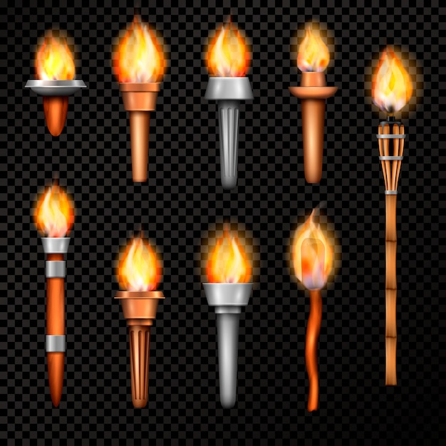 Fire torch realistic set Free Vector
