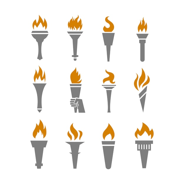 Fire torch with flame flat icons set Premium Vector