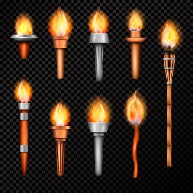 Реалистичный набор fire torch Бесплатные векторы