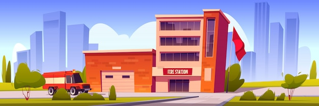 Fire truck driving to station building with garage Free Vector