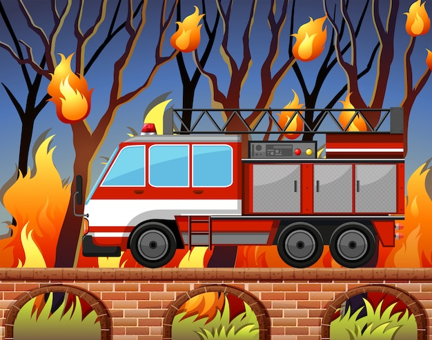 Fire truck and the wild fire at the forest Free Vector