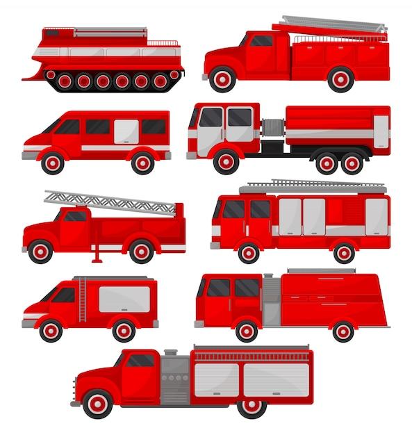 消防車セット、緊急車両、白い背景の上の側面図 Premiumベクター