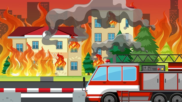 Fire in the villlage Premium Vector