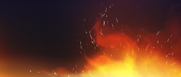 Fire with sparkles and smoke isolated on transparent background Free Vector