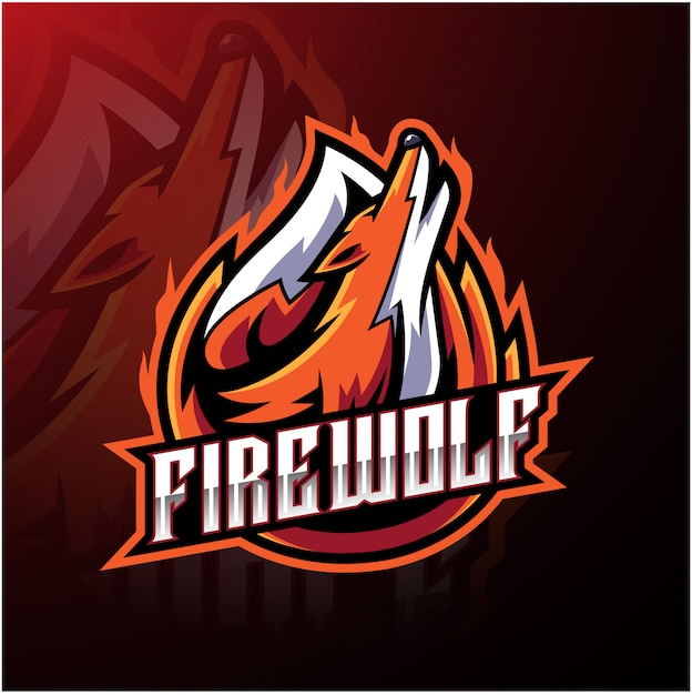 Fire wolf sport logo template Premium Vector