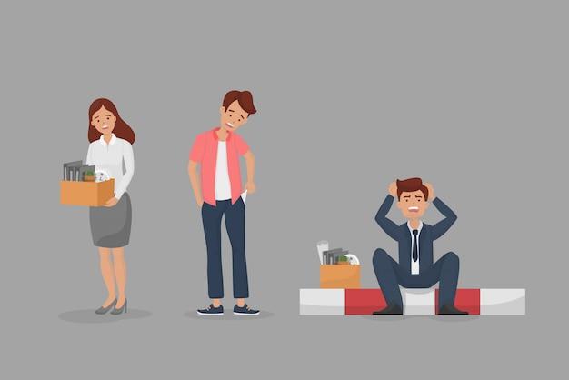 Уволенные персонажи установить концепцию. безработная грустная работница, служащий мужчина показывает пустой карман без денег и безработный менеджер Premium векторы