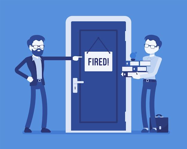 Уволен офисный работник и босс. молодой сотрудник уволен с работы разгневанным менеджером, уволен за плохую работу, проступок, неспособность сохранить профессиональную карьеру. иллюстрация с безликими персонажами Premium векторы