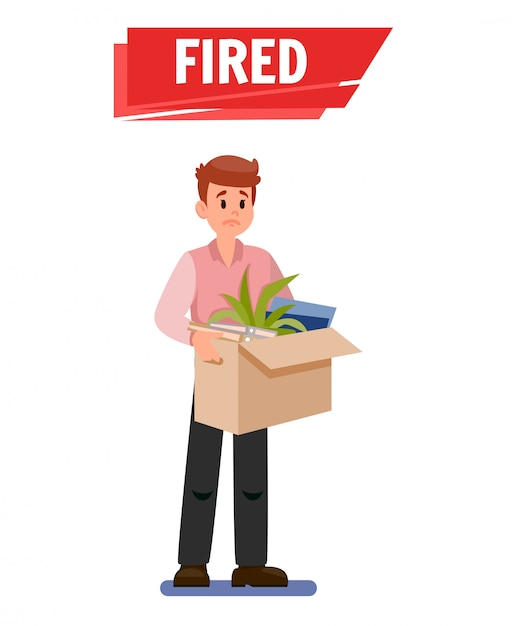 Fired sad employee cartoon vector illustration Premium Vector