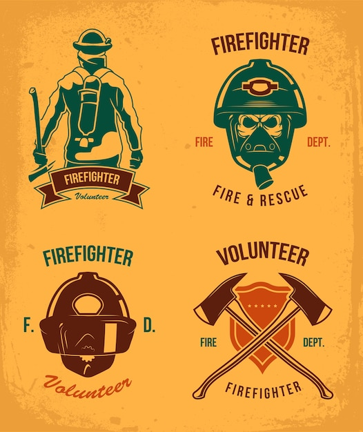 Firefighter badges set. vintage patches with fireman in helmet and gas. emblem with axes and shield in grunge style. vector illustration collection for fire department logo templates Free Vector