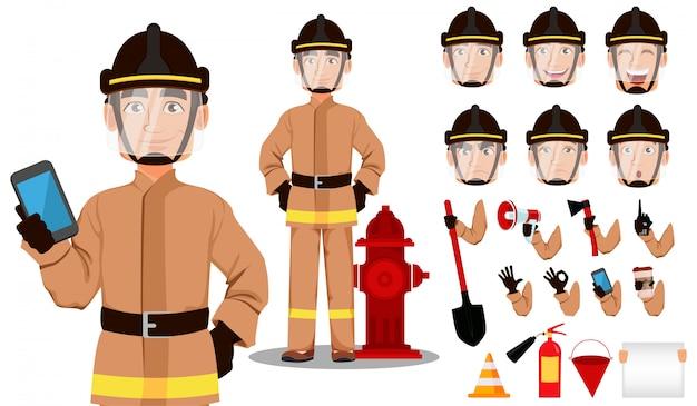 Firefighter cartoon character creation set Premium Vector