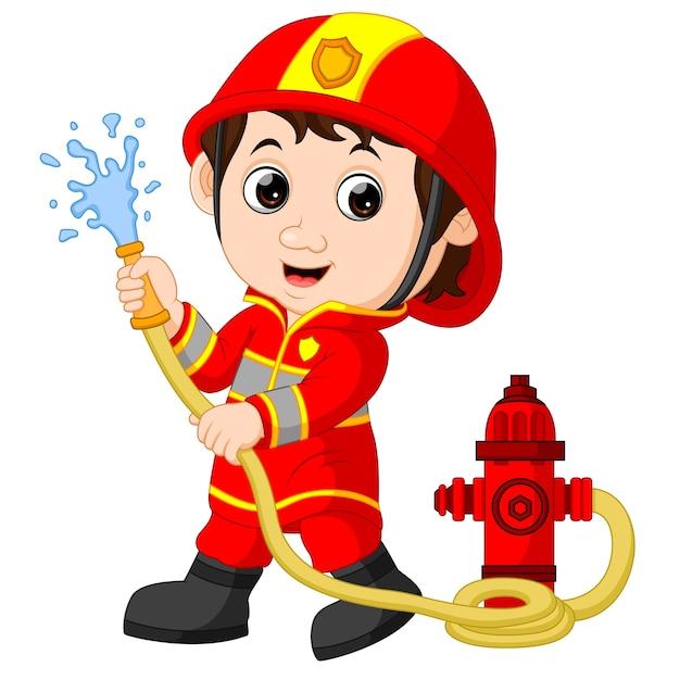 Firefighter cartoon Premium Vector