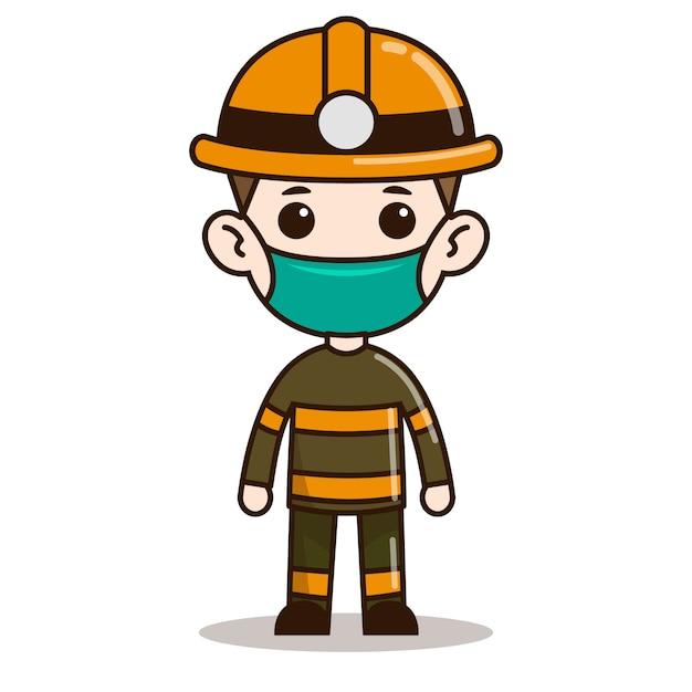 Дизайн персонажей чиби пожарного с маской Premium векторы
