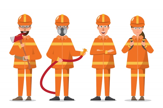 Firefighter or fireman and woman in uniform Premium Vector