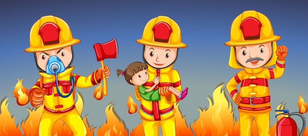 Firefighter helping a girl Free Vector