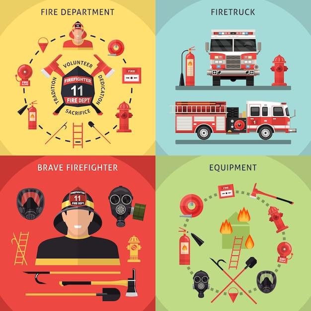Pompiere icon set Vettore gratuito