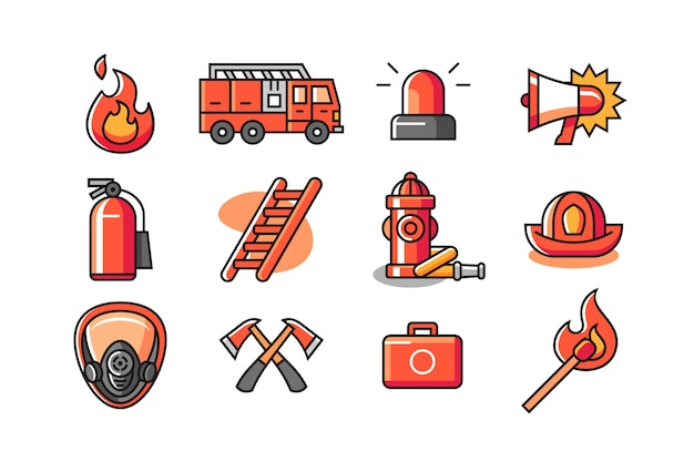 Firefighter icon set Premium Vector