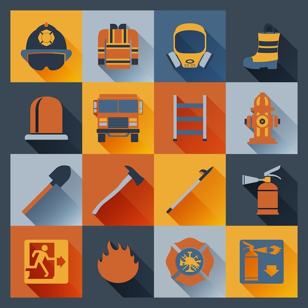 Firefighter icons flat Free Vector